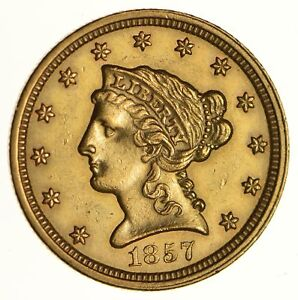 1857 $2.50 LIBERTY HEAD GOLD QUARTER EAGLE   NEAR UNCIRCULATED  6700