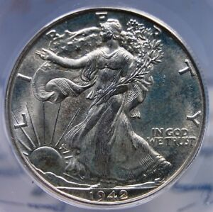 1942 D WALKING LIBERTY HALF DOLLAR ANACS MS 63 FROSTY WHITE WITH A VANILLA CASTE