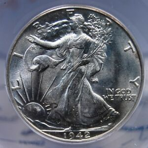 1942 D WALKING LIBERTY HALF DOLLAR ANACS MS 62 SATINY ALL WHITE EXCELLENT STRIKE