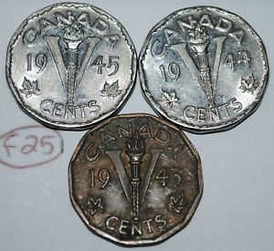 CANADA 5 CENTS 1943 1944 1945 V NICKELS GEORGE VI CANADIAN VICTORY COIN LOT F25
