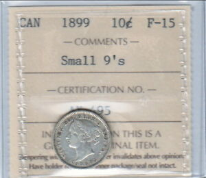 1899 SMALL 9'S CANADIAN TEN CENTS