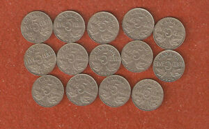 14 DFFERENT KING GEORGE V FIVE CENT COINS INCLUDES 1926 N6 ALL NICE COINS A35