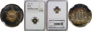 1867 SILVER THREE CENT PIECE NGC MS 65