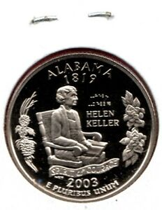 2003 S ALABAMA STATE QUARTER GEM PROOF DEEP CAMEO ANY SPOTS ARE ON MYLAR