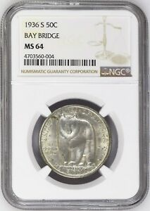 CLASSIC COMMEM. 1936 S BAY BRIDGE SILVER HALF DOLLAR NGC MS 64 1006