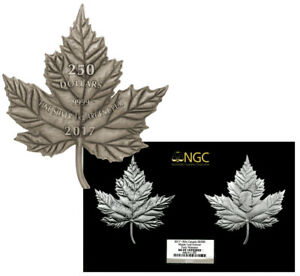 Click now to see the BUY IT NOW Price! 2017 CANADA MAPLE LEAF SHAPED 1 KILO SILVER ANTIQUED $250 NGC MS69 ER SKU50140