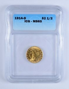MS65 1914 D $2.50 INDIAN HEAD GOLD QUARTER EAGLE   ICG GRADED  3134