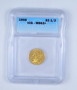 MS63  1908 $2.50 INDIAN HEAD GOLD QUARTER EAGLE   GRADED BY ICG  9635