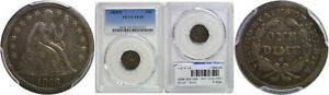 1858 S SEATED LIBERTY DIME PCGS VF 30