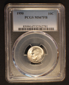 1950 ROOSEVELT DIME PCGS MS 67FB   WELL STRUCK FULL BANDS