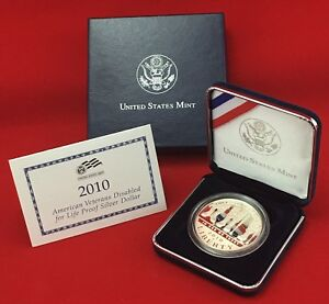 2010 W US MINT AMERICAN VETERANS DISABLED FOR LIFE SILVER DOLLAR PROOF  COA OGP