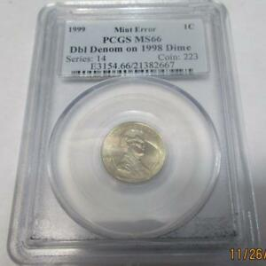 Click now to see the BUY IT NOW Price! 1999 PCGS MS66 LINCOLN CENT. DBL DENOM ON 1998 DIME MINT ERROR