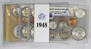 Click now to see the BUY IT NOW Price! 1948 PDS DOUBLE MINT SET OSV ANACS COMPOSITE GRADE P MS65.53 D MS65.75 S MS66.15