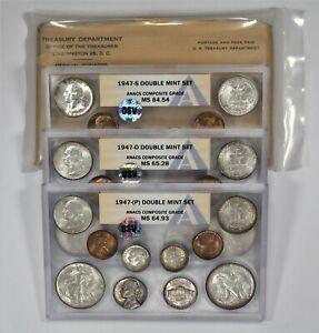 Click now to see the BUY IT NOW Price! 1947 PDS DOUBLE MINT SET OSV ANACS GRADES P MS65.1 D MS65.88 S MS65.54 PQ