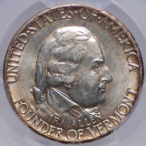 1927 VERMONT HALF DOLLAR PCGS MS 62 LOVELY ORIGINAL PATINA AND LOOKS BETTER