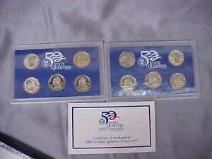 10 COINS 50 STATE QUARTERS PROOF SET IN BLUE BOX WCOA  US MINT 2003 AND 2004