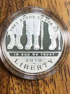 2010 US MINT AMERICAN VETERANS DISABLED FOR LIFE PROOF SILVER DOLLAR