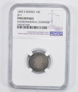 JR 1 FINE DETAILS 1805 DRAPED BUST DIME   5 BERRIES   NGC GRADED  2009