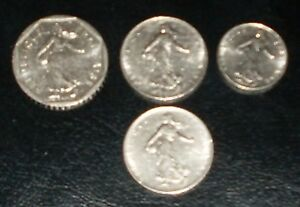 4 FRENCH COINS 2 FRANC   1979   2   1 FRANC 1964 AND 1973 1 HALF FRANC  1978