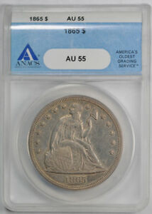 1865 $1 LIBERTY SEATED DOLLAR ANACS AU 55 ABOUT UNCIRCULATED KEY DATE