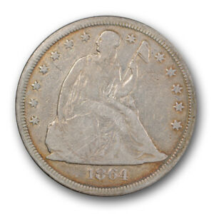 1864 $1 LIBERTY SEATED DOLLAR GOOD TO FINE KEY DATE LOW MINTAGE R42