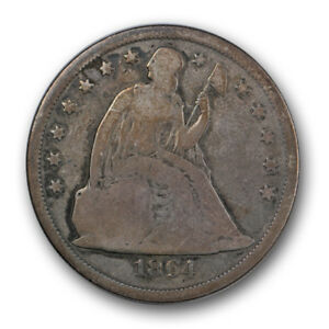1864 $1 LIBERTY SEATED DOLLAR GOOD VG KEY DATE US COIN TOUGH R43