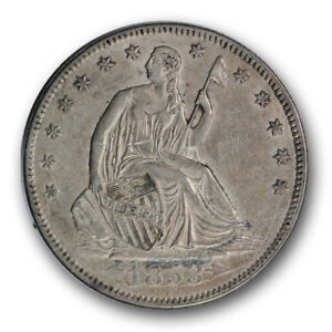 1853 50C ARROWS AND RAYS LIBERTY SEATED HALF DOLLAR ABOUT UNCIRCULATED R316
