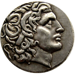 ANCIENT ALEXANDER III THE GREAT GREEK COIN  336 323 BC SILVER PLATED DRACHM