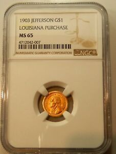 Click now to see the BUY IT NOW Price! 1903 $1 GOLD JEFFERSON LOUISIANA PURCHASE COMMEMORATIVE NGC GRADED MS 65
