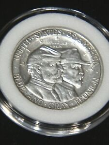 1936 GETTYSBURG HALF DOLLAR AU MOSTLY WHITE ORIGINAL LUSTER AIRTIGHT CAP 735T