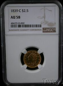 Click now to see the BUY IT NOW Price! 1839 C CLASSIC HEAD GOLD $2.50 QUARTER EAGLE NGC AU 58