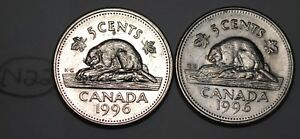 CANADA 1996 5 CENTS NEAR AND FAR 6 CANADIAN NICKELS FIVE CENTS LOT N22