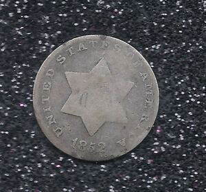 1852 SILVER THREE CENT 3C US TRIME STRONG LETTERING STRONG DATE