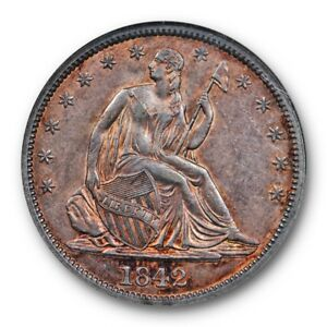 1842 SEATED LIBERTY HALF DOLLAR NGC AU 58 ABOUT UNCIRCULATED GOLDEN TONED BEAUTY