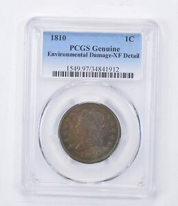 XF DETAIL 1810 CLASSIC HEAD LARGE CENT ENVIRONMENTAL DAMAGE   GRADED PCGS  1465