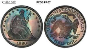 1880 50 C SEATED LIBERTY HALF DOLLAR SILVER PROOF PR 67 PCGS. AMONG THE FINEST