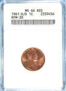 1961 D/D LINCOLN CENT ANACS MS 66 RED  GA233