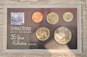 1994   35 YEAR US MINT COIN COLLECTION SEALED KEEPSAKE CASE   5 COINS