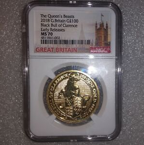 Click now to see the BUY IT NOW Price! 2018 BRITAIN 1 OZ. GOLD QUEEN'S BEASTS BLACK BULL CLARENCE NGC MS70 ER