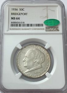 1936 NGC MS64 CAC BRIDGEPORT COMMEMORATIVE SILVER HALF DOLLAR MS 64 CAC 50C 018