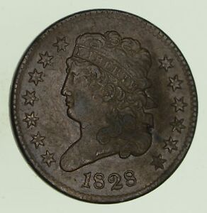 1828 CLASSIC HEAD HALF CENT   CIRCULATED  8695