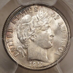 1911 D BARBER DIME CHOICE UNCIRCULATED PCGS MS 63 CERTIFIED SLABBED