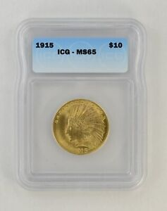 MS65 1915 $10.00 INDIAN HEAD GOLD EAGLE   ICG GRADED  0500