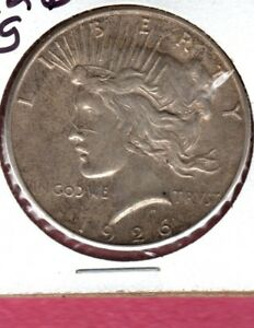 1926 S PEACE SILVER DOLLAR HIGH END CIRC COIN HERE  NICE LUSTER BUY IT NOW C265