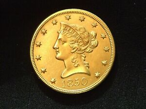 1850 LARGE DATE NO MOTTO  $10 DOLLAR GOLD AU