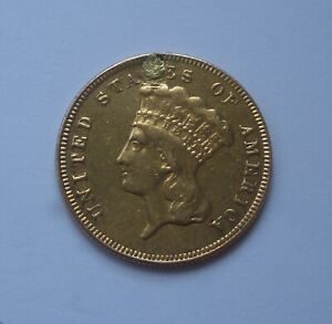 1874 US $3.00 GOLD COIN HOLED AND PLUGGED