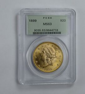 MS63 1899 $20.00 LIBERTY HEAD GOLD DOUBLE EAGLE   OGH   GRADED PCGS  1575