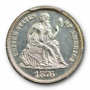 1876 10C LIBERTY SEATED DIME PCGS PR 63 CAM PROOF CAMEO LOW MINTAGE