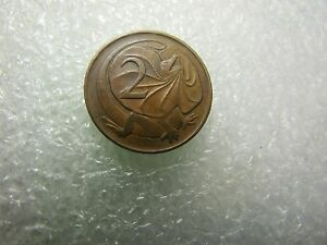 AUSTRALIA 1966   2 CENTS BRONZE COIN   FRILL NECKED LIZARD   FIRST MINTAGE
