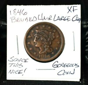 1846 BRAIDED HAIR LARGE CENT 1C XF MAKE US AN OFFER  THIS NICE GORGEOUS